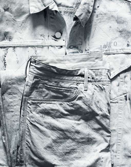 Denim shirt and jeans painted white