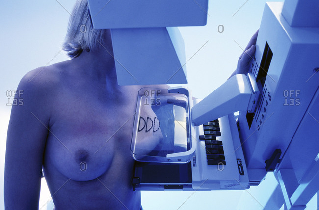 Female patient undergoing a Mammogram