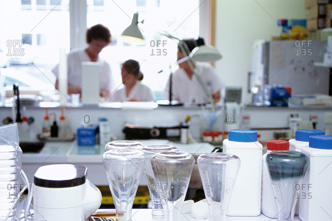 Medical staff working in a bacteriology laboratory