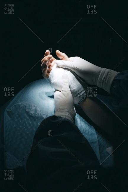 Hand surgery.