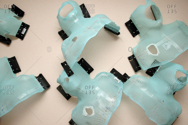 Overhead view of Capelines, used to immobilize patients in the correct position during radiation therapy.