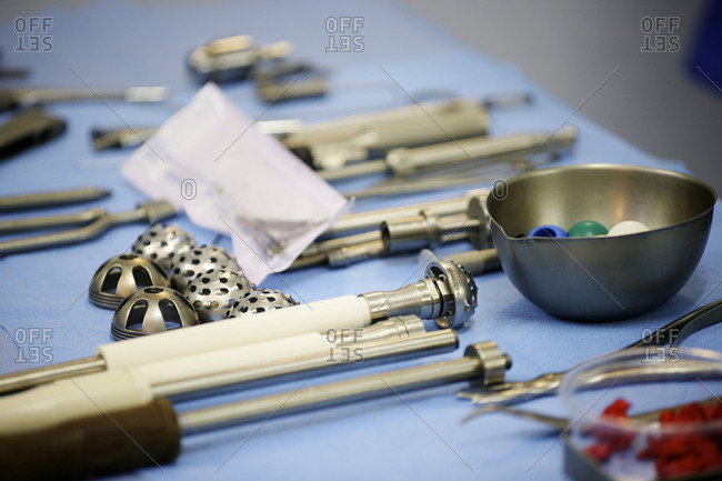Surgical equipment used for the placement of hip prosthesis.