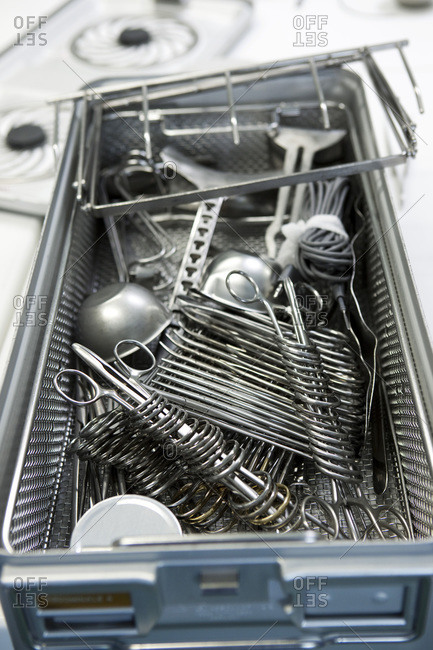 Sterilization of surgical instruments.