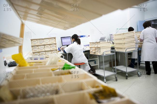 Interior view of a pharmaceutical storeroom