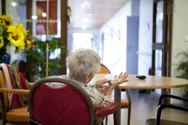Rare view of an elderly patient in a nursing home