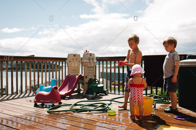 Children having fun on a terrace