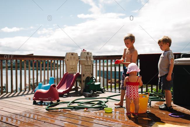 Children having fun on a terrace