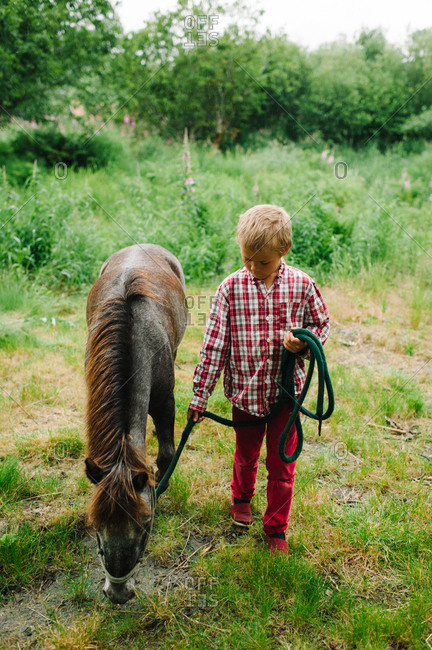 Boy with a grazing pony