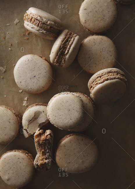 Top view of almond macarons