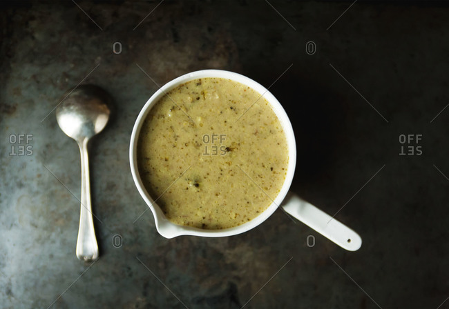 Creamy broccoli soup in a bowl