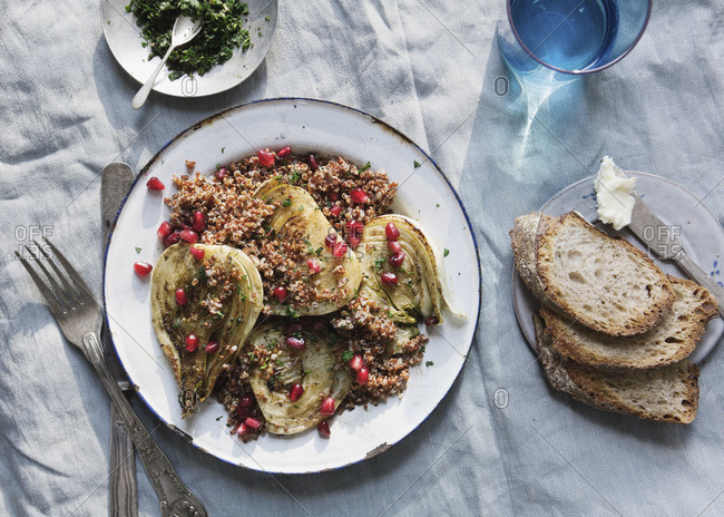 Fennel salad with quinoa and pomegranate seeds
