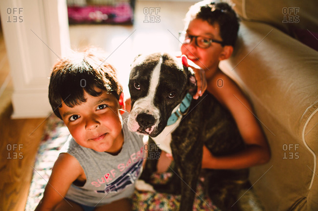 Boys with a Staffordshire terrier dog