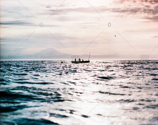 Fishing boat in a gulf at Cook Inlet in Alaska
