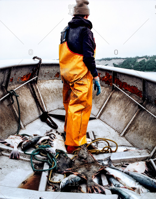 Fisherman standing in a boat with the daily catch in Alaska