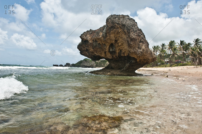 Eroded rock formation on the beach of Barbados