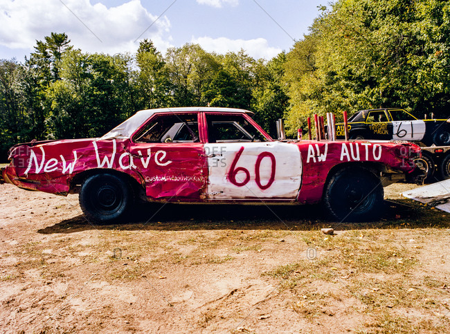 Broken-down car at Demolition derby, White lake, New York