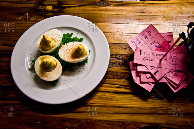 Deviled eggs served on a plate