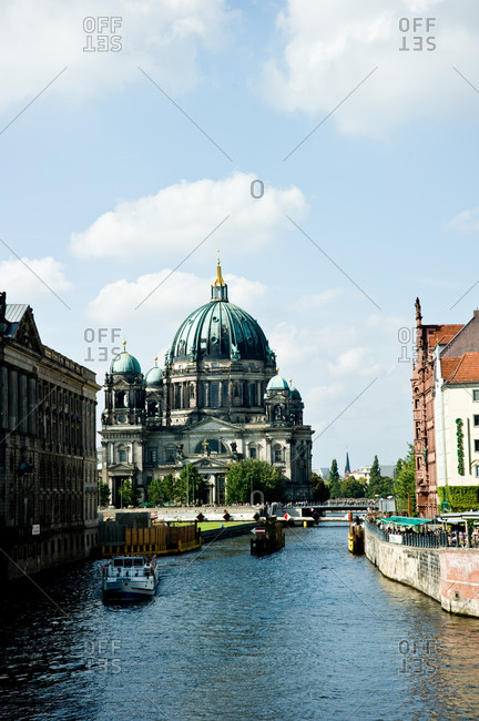 View of the Berlin Cathedral at river Spree