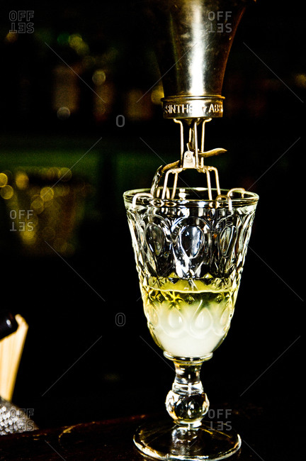 Glass of absinthe in a bar