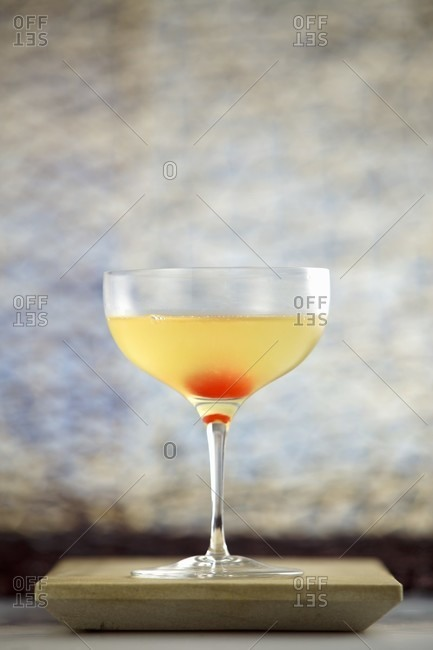 Cocktail made with lemon vodka, pineapple juice, lime juice and cane sugar syrup