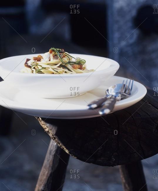 Spaghetti with buck's horn plantain, fresh goat's cheese & shiitake