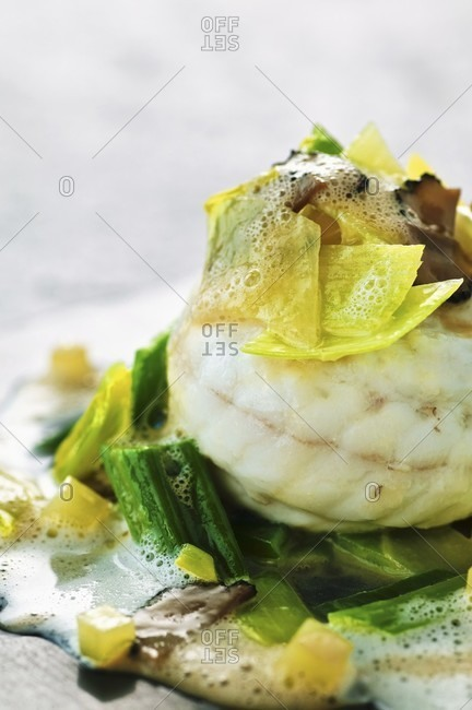 Steamed sole with potato and leek ragout and truffles