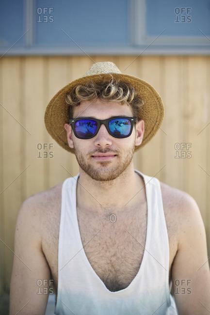 Portrait of a boy in straw hat