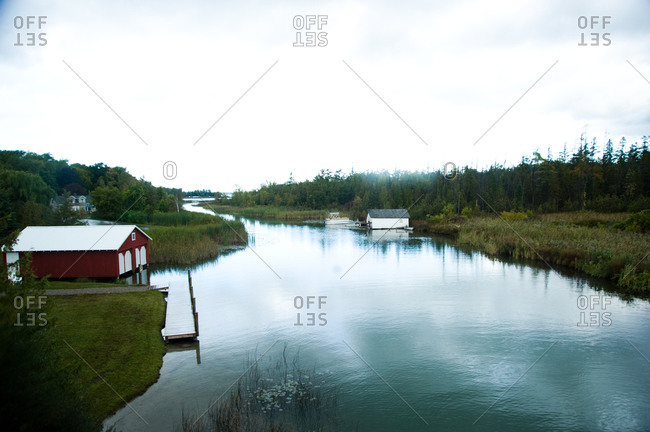 Boathouses on the Leelanau Lake inlet, Michigan