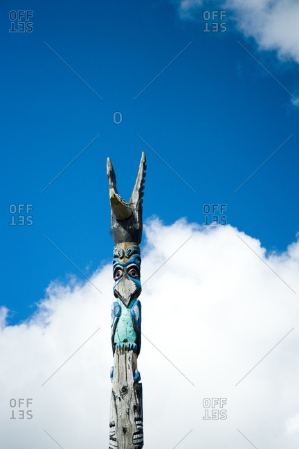 Close up of the top of a totem pole in Leelanau, Michigan