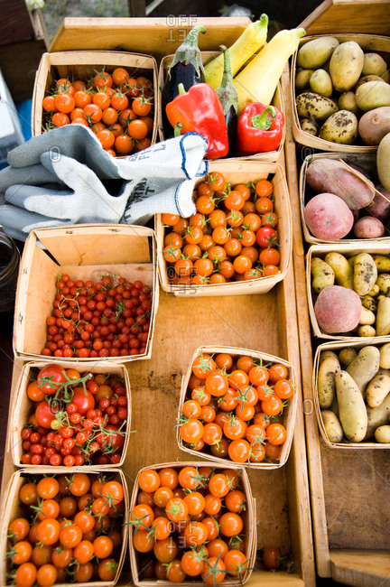 Fresh vegetables for sale in a farmer's market in Northport, Michigan
