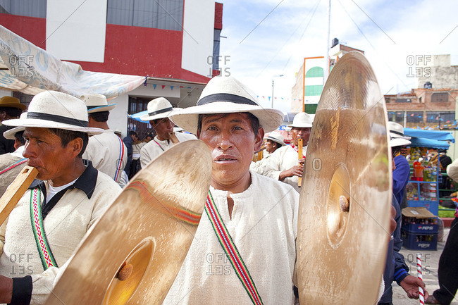 Puno, Peru - February 4, 2012: Man with a cymbal during the Virgin of Candelaria Feast