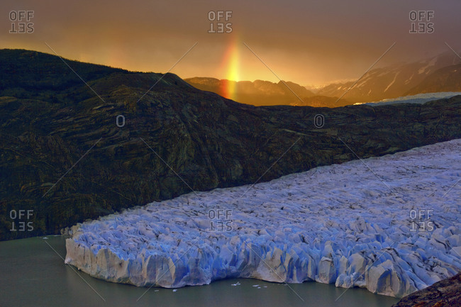View of the Perito Moreno Glacier at sunset