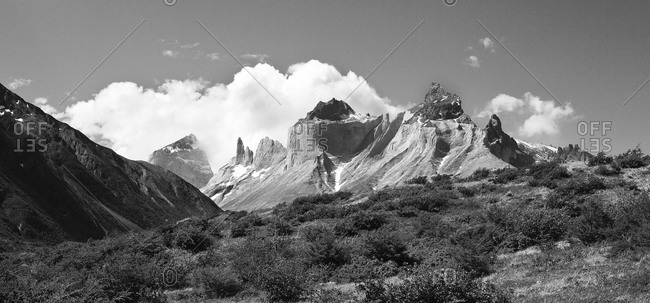 View of the Cuernos in the Torres del Paine National Park, Chile
