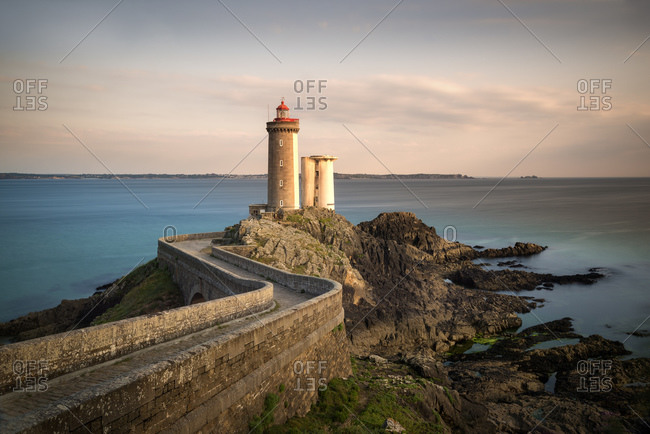 Phare du Petit Minou in the evening, Brittany, France