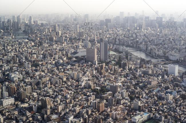 View towards Asakusa and Sumida river, Tokyo
