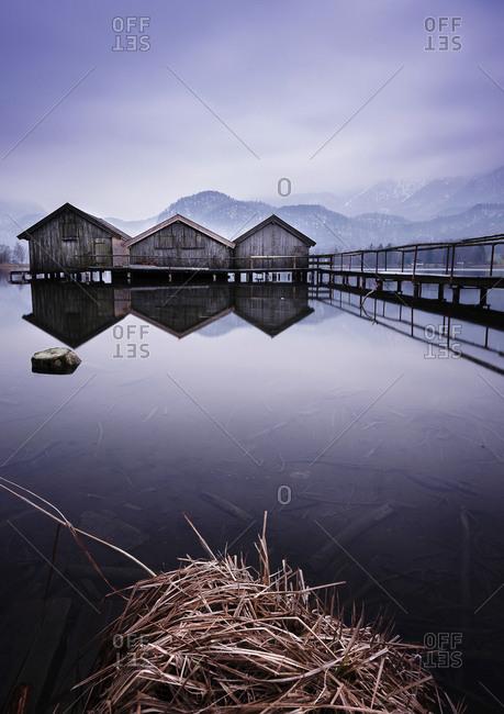Bathhouses on Lake Kochelsee - Offset