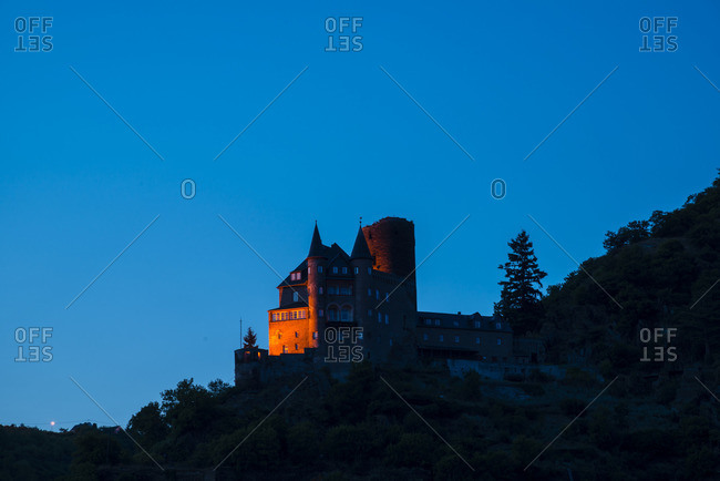 Blue hour, Katz Castle, Sankt Goarshausen