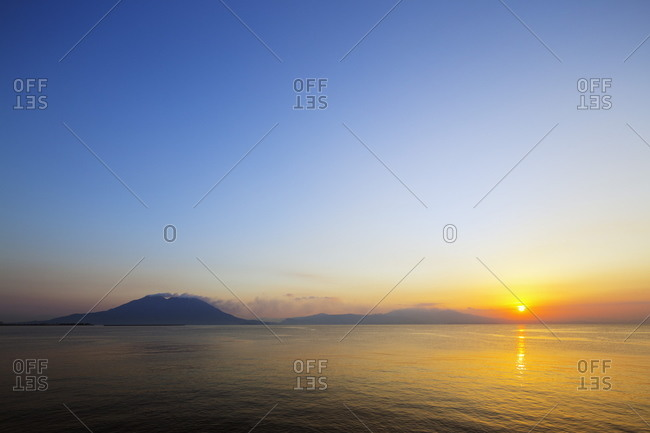 Sunrise over Sakurajima volcano - Offset