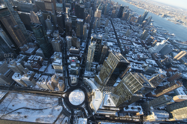 Aerial view of the snowy Columbus Circle in New York City, USA