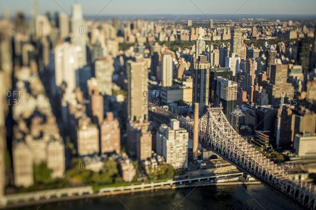 Tilt shift of Queensboro Bridge and Manhattan, NYC, USA