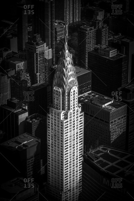 Elevated view of Art Deco style Chrysler Building, NYC, USA