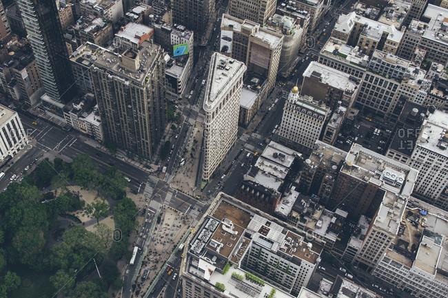 Bird's eye view of Flatiron and Madison Square Park