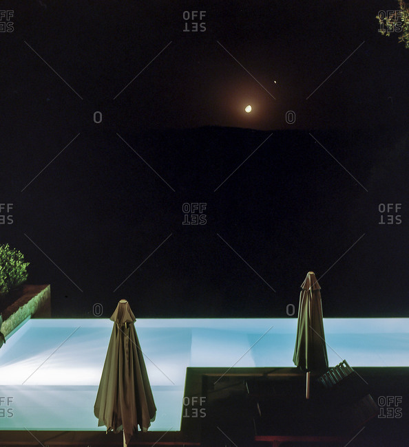 Swimming pool at night in Tuscany