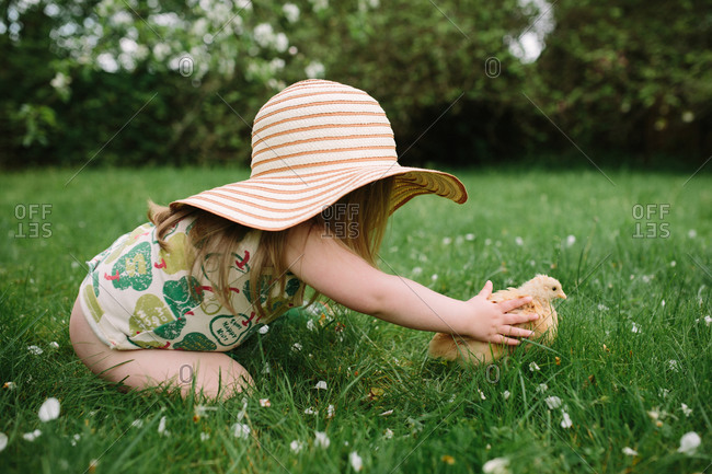 Girl in wide flanged hat petting a chick in the garden