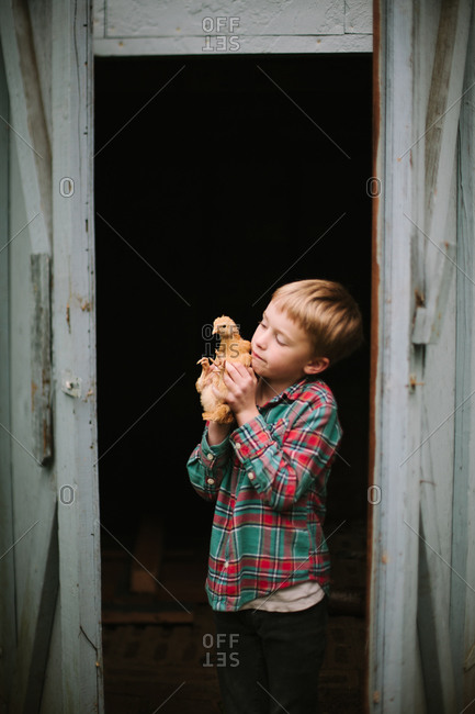 Boy holding a chicken