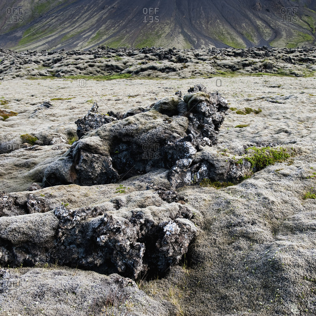 View of barren landscape and rocks, Iceland