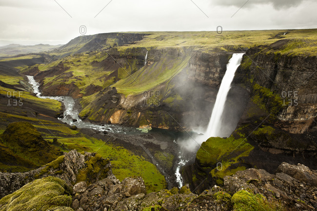 View to landscape with waterfall Haifoss