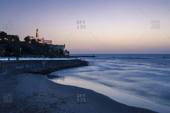St. Peter's Church and beach, Blue hour, Tel Aviv