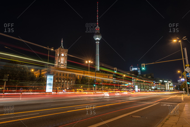 Berlin TV Tower and Red Town Hall at Alexanderplatz at night