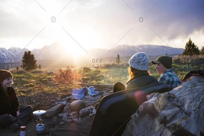Friends camping in a countryside